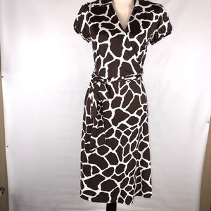 INC Brown & White Animal Print Belted Dress